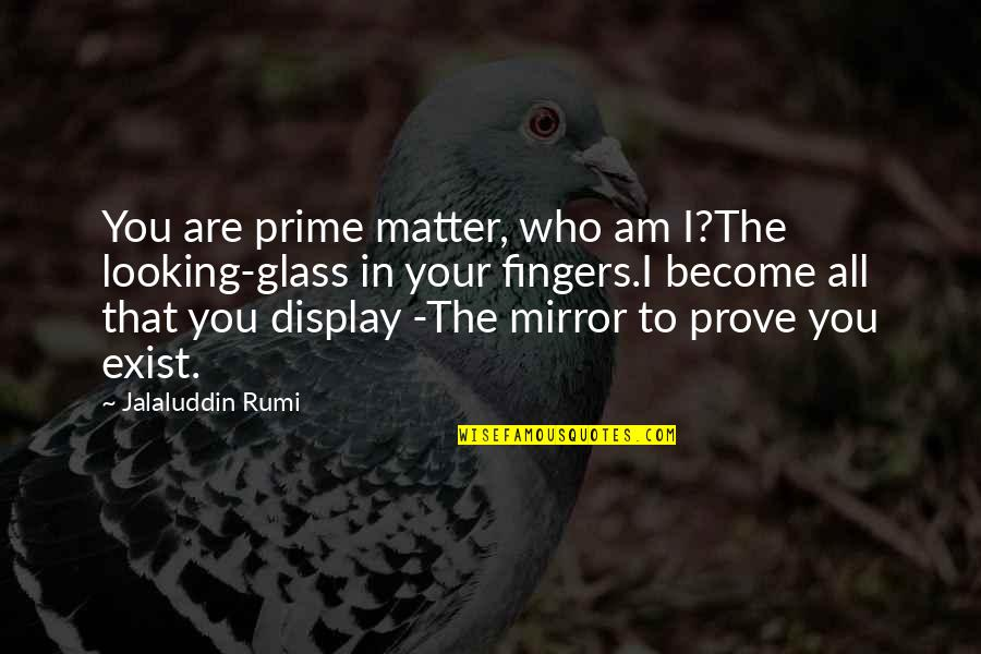 Jalaluddin Quotes By Jalaluddin Rumi: You are prime matter, who am I?The looking-glass