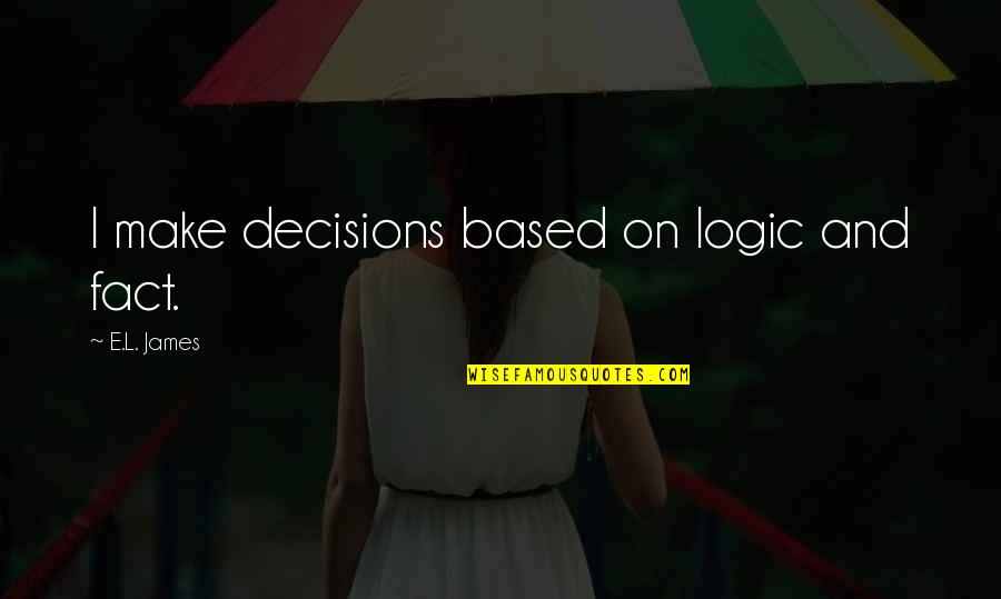 Jamaica Famous Quotes By E.L. James: I make decisions based on logic and fact.