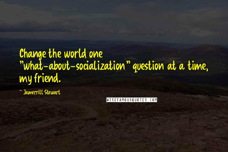 """Jamerrill Stewart quotes: Change the world one """"what-about-socialization"""" question at a time, my friend."""