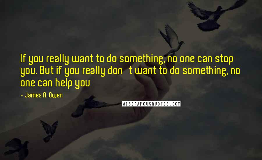 James A. Owen quotes: If you really want to do something, no one can stop you. But if you really don't want to do something, no one can help you