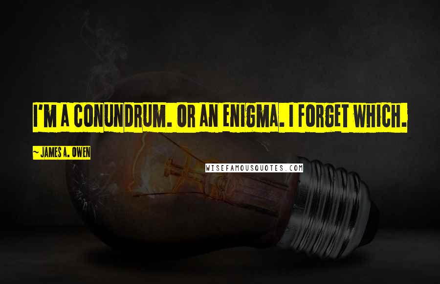 James A. Owen quotes: I'm a conundrum. Or an enigma. I forget which.