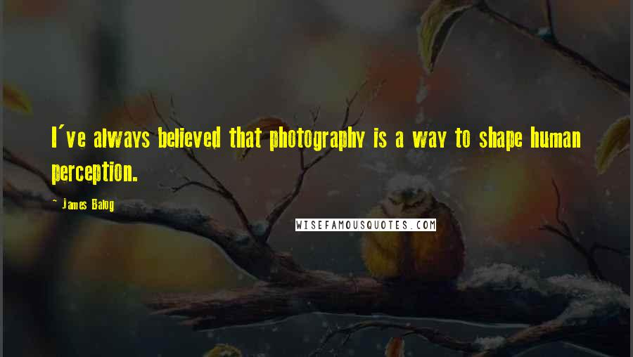 James Balog quotes: I've always believed that photography is a way to shape human perception.