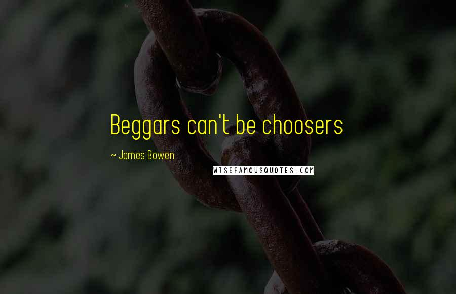 James Bowen quotes: Beggars can't be choosers