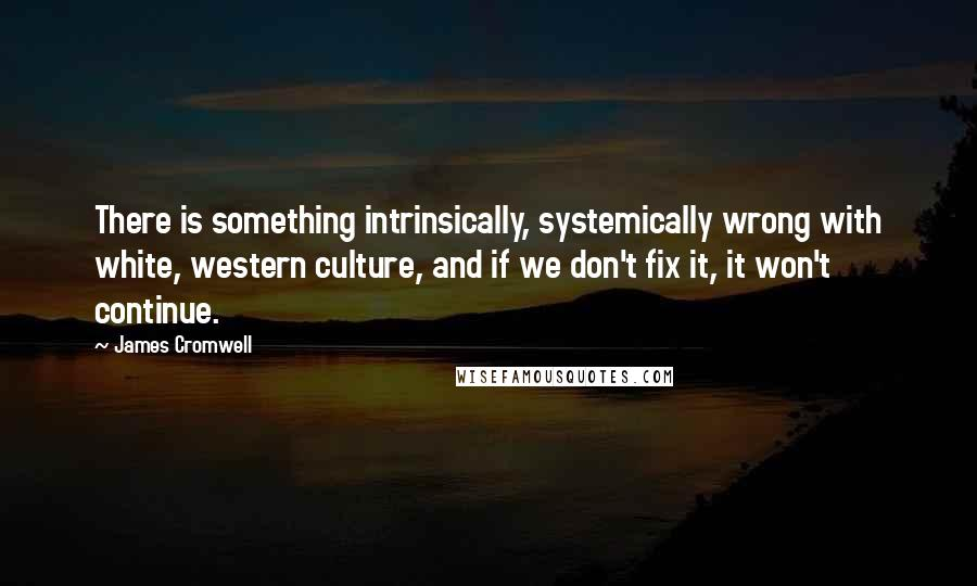 James Cromwell quotes: There is something intrinsically, systemically wrong with white, western culture, and if we don't fix it, it won't continue.