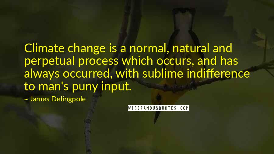 James Delingpole quotes: Climate change is a normal, natural and perpetual process which occurs, and has always occurred, with sublime indifference to man's puny input.