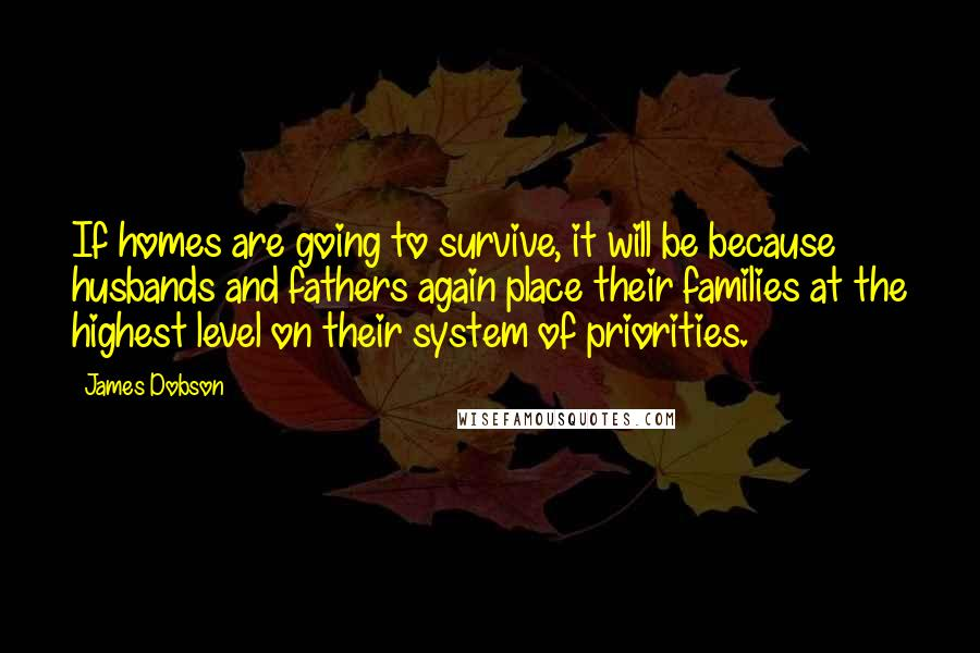 James Dobson quotes: If homes are going to survive, it will be because husbands and fathers again place their families at the highest level on their system of priorities.
