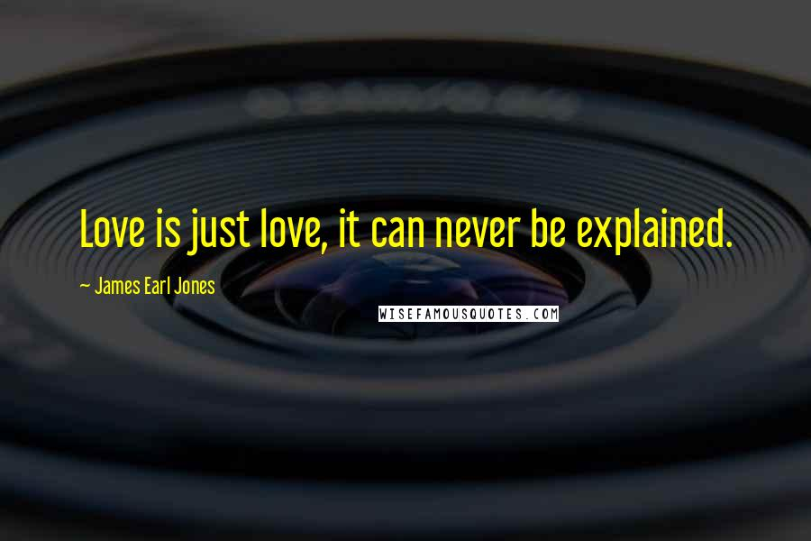 James Earl Jones quotes: Love is just love, it can never be explained.