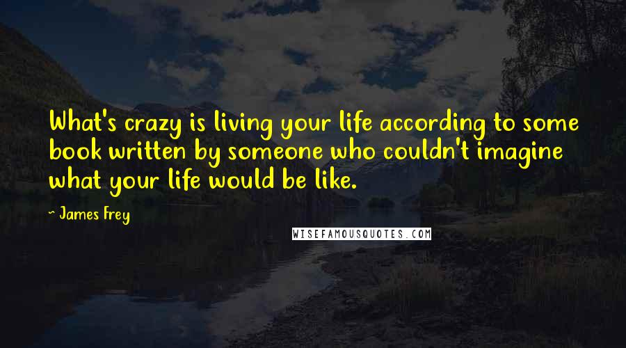 James Frey quotes: What's crazy is living your life according to some book written by someone who couldn't imagine what your life would be like.