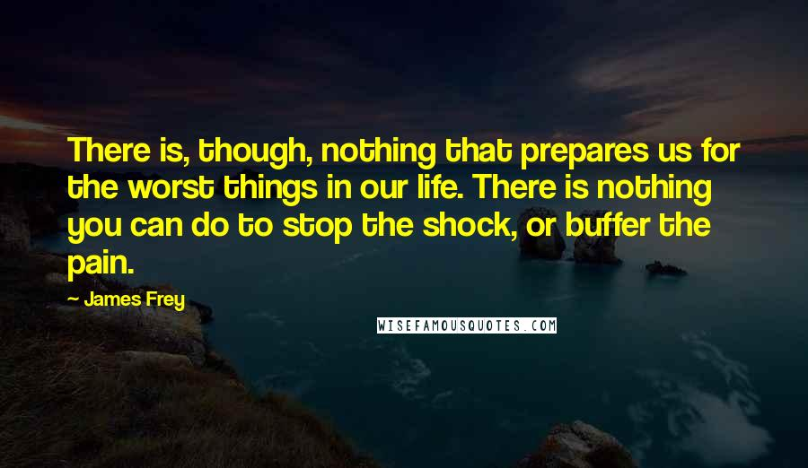 James Frey quotes: There is, though, nothing that prepares us for the worst things in our life. There is nothing you can do to stop the shock, or buffer the pain.