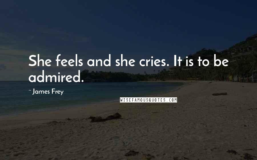 James Frey quotes: She feels and she cries. It is to be admired.