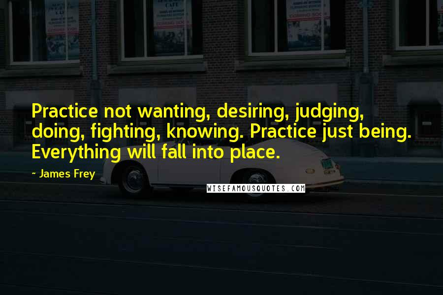 James Frey quotes: Practice not wanting, desiring, judging, doing, fighting, knowing. Practice just being. Everything will fall into place.