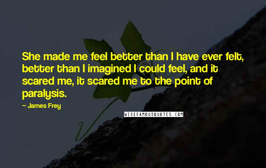 James Frey quotes: She made me feel better than I have ever felt, better than I imagined I could feel, and it scared me, it scared me to the point of paralysis.