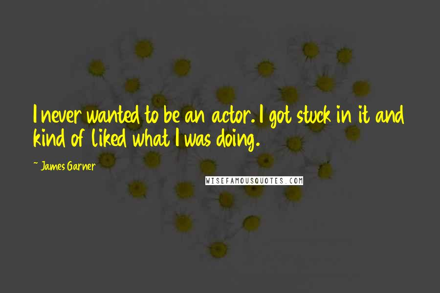 James Garner quotes: I never wanted to be an actor. I got stuck in it and kind of liked what I was doing.