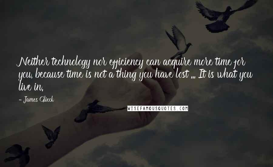 James Glieck quotes: Neither technology nor efficiency can acquire more time for you, because time is not a thing you have lost ... It is what you live in.