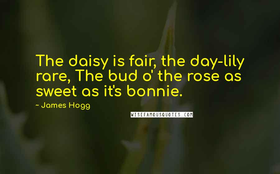 James Hogg quotes: The daisy is fair, the day-lily rare, The bud o' the rose as sweet as it's bonnie.