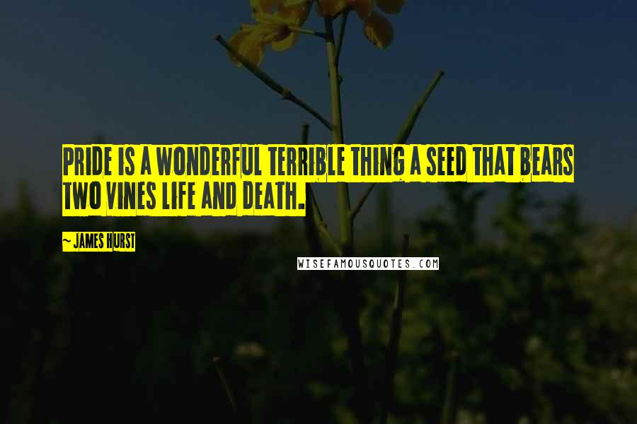 James Hurst quotes: Pride is a wonderful terrible thing a seed that bears two vines life and death.