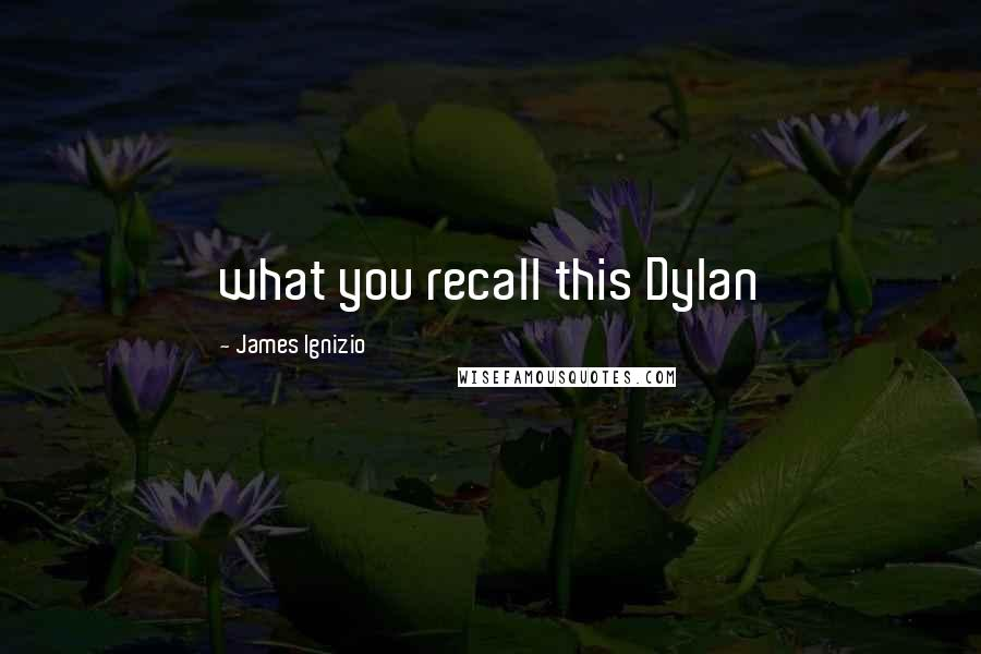 James Ignizio quotes: what you recall this Dylan