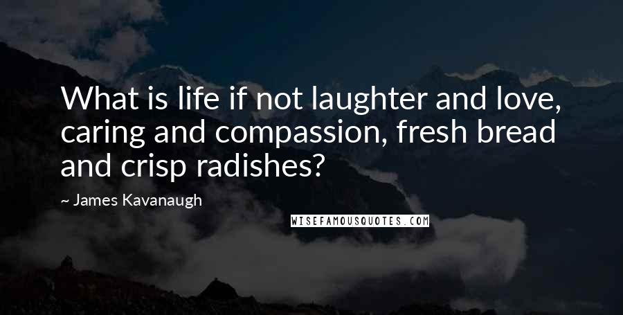 James Kavanaugh quotes: What is life if not laughter and love, caring and compassion, fresh bread and crisp radishes?
