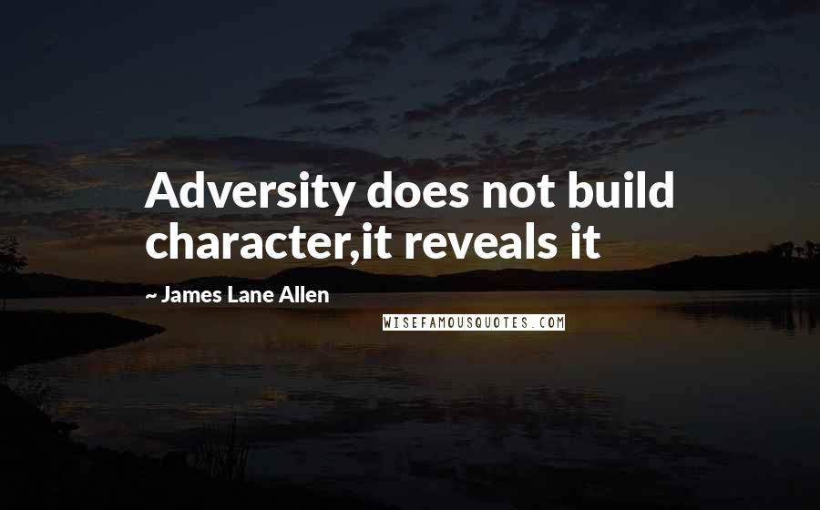 James Lane Allen quotes: Adversity does not build character,it reveals it