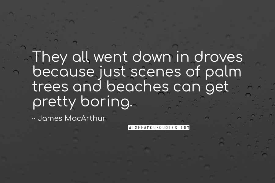 James MacArthur quotes: They all went down in droves because just scenes of palm trees and beaches can get pretty boring.