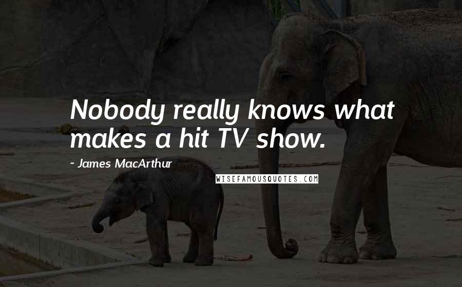 James MacArthur quotes: Nobody really knows what makes a hit TV show.