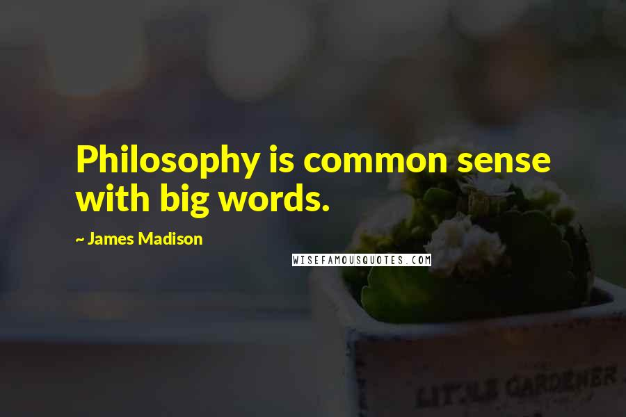 James Madison quotes: Philosophy is common sense with big words.