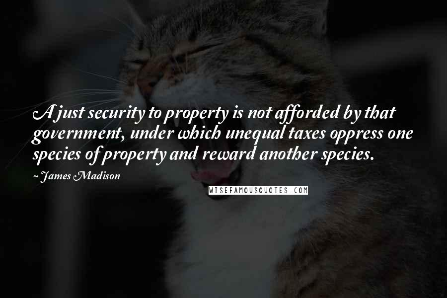 James Madison quotes: A just security to property is not afforded by that government, under which unequal taxes oppress one species of property and reward another species.