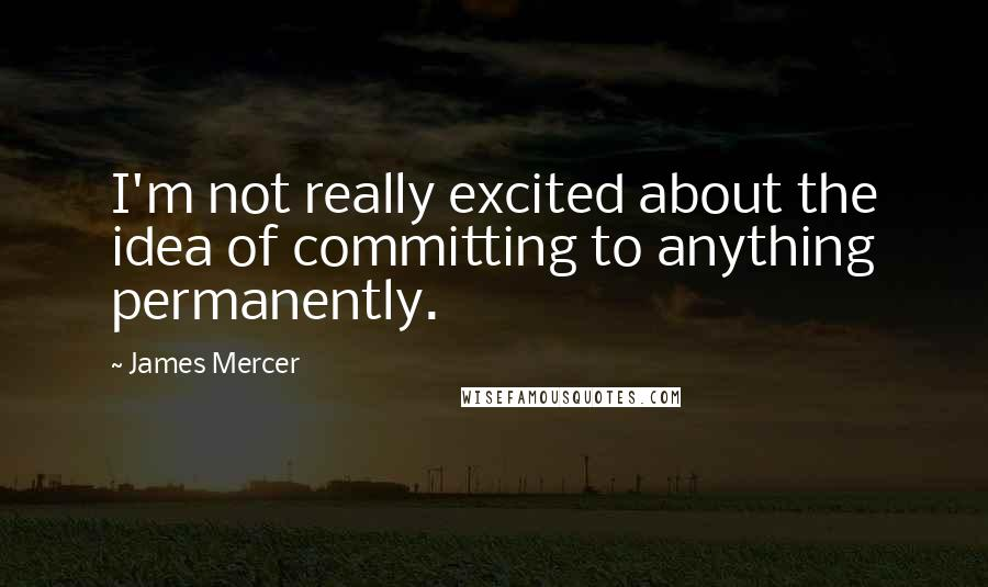 James Mercer quotes: I'm not really excited about the idea of committing to anything permanently.