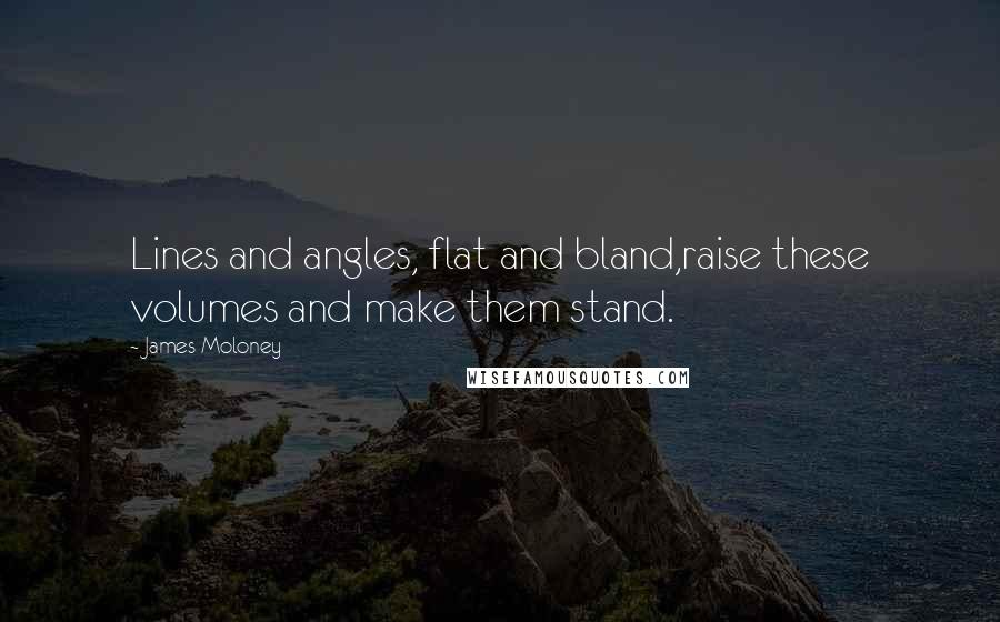 James Moloney quotes: Lines and angles, flat and bland,raise these volumes and make them stand.