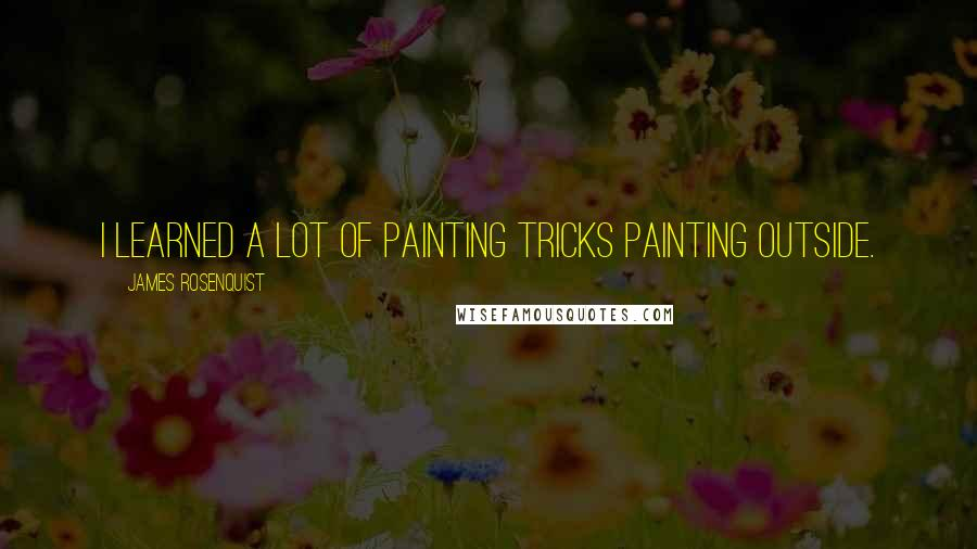 James Rosenquist quotes: I learned a lot of painting tricks painting outside.