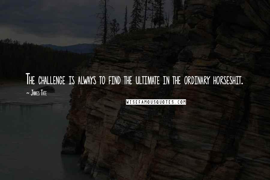 James Tate quotes: The challenge is always to find the ultimate in the ordinary horseshit.