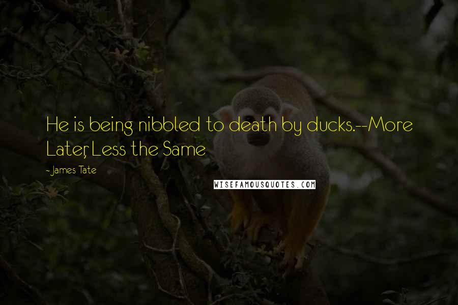 James Tate quotes: He is being nibbled to death by ducks.--More Later, Less the Same