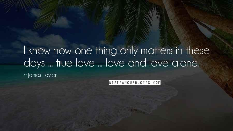 James Taylor quotes: I know now one thing only matters in these days ... true love ... love and love alone.