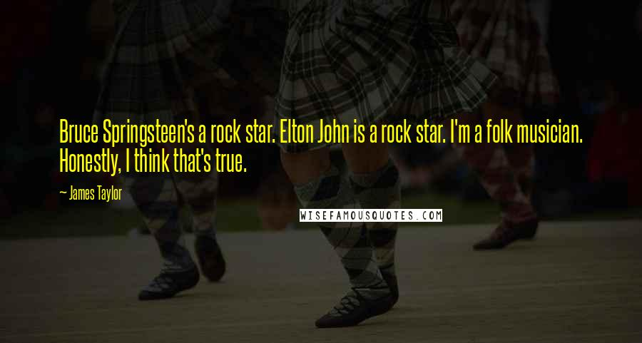 James Taylor quotes: Bruce Springsteen's a rock star. Elton John is a rock star. I'm a folk musician. Honestly, I think that's true.