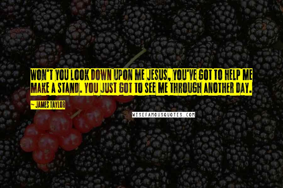 James Taylor quotes: Won't you look down upon me Jesus, you've got to help me make a stand. You just got to see me through another day.