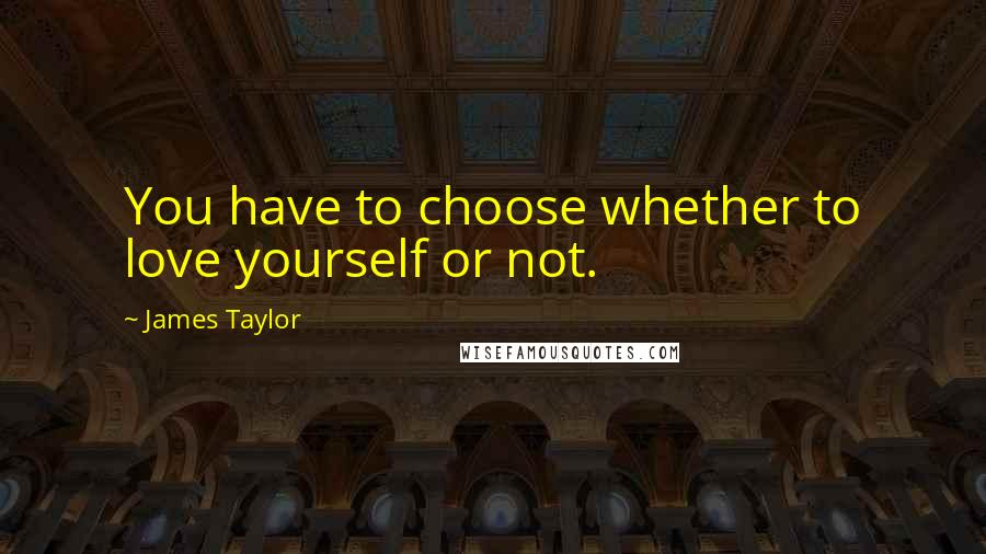 James Taylor quotes: You have to choose whether to love yourself or not.