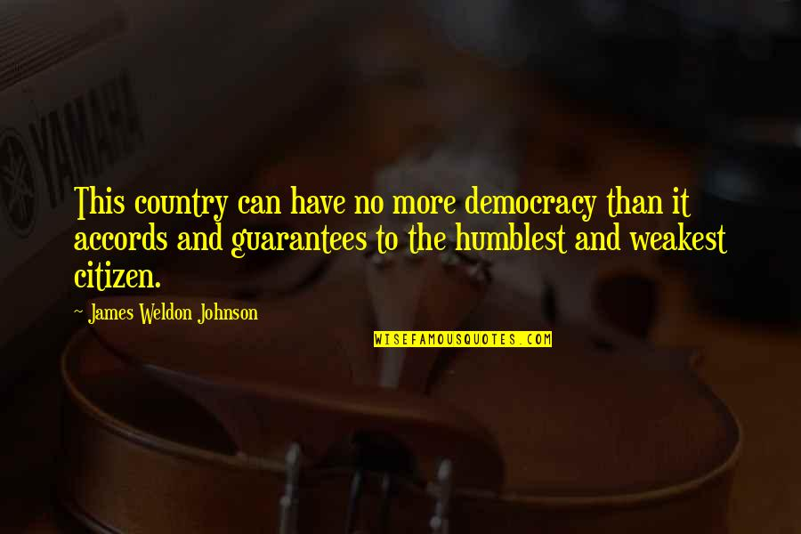 James Weldon Quotes By James Weldon Johnson: This country can have no more democracy than