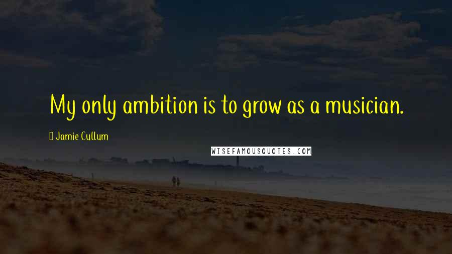 Jamie Cullum quotes: My only ambition is to grow as a musician.