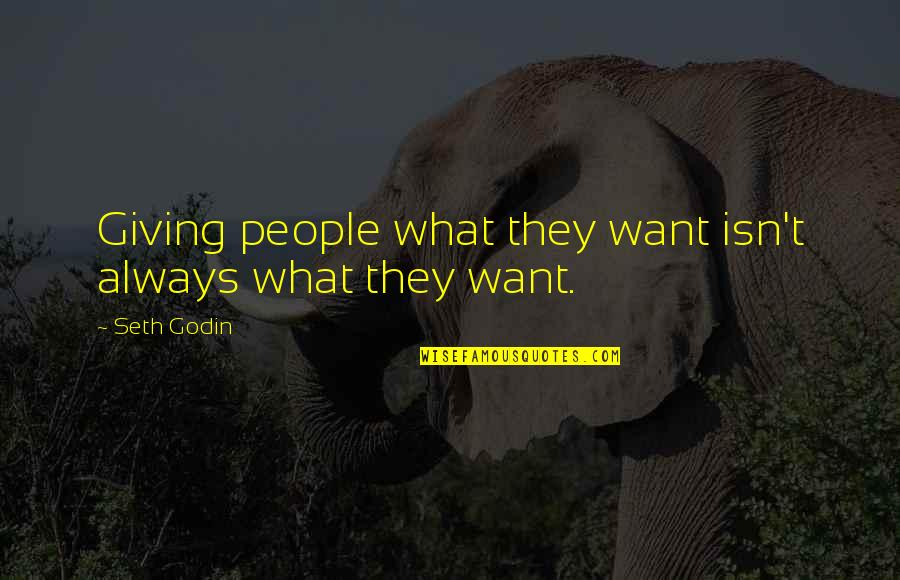Jamie Grace Quotes By Seth Godin: Giving people what they want isn't always what