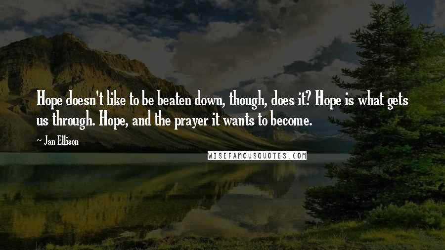 Jan Ellison quotes: Hope doesn't like to be beaten down, though, does it? Hope is what gets us through. Hope, and the prayer it wants to become.