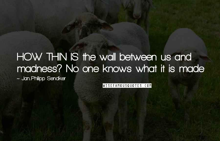 Jan-Philipp Sendker quotes: HOW THIN IS the wall between us and madness? No one knows what it is made