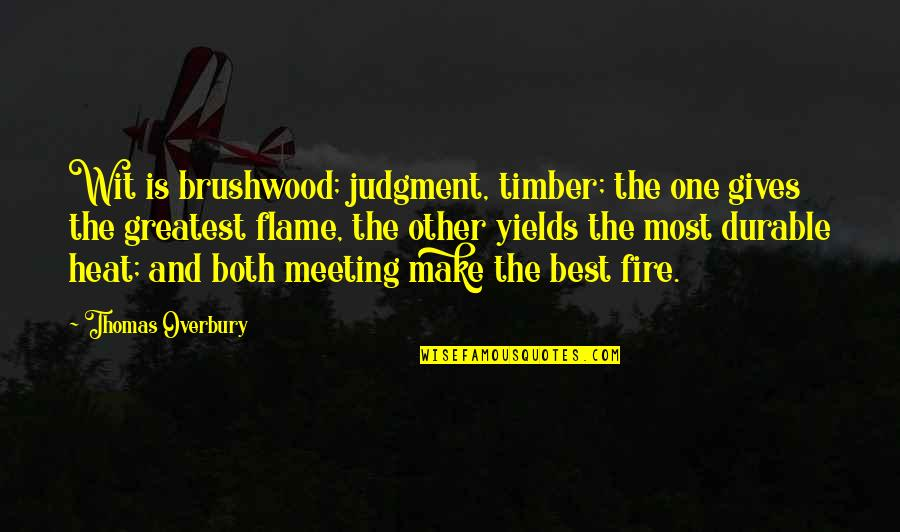 Jan Tinbergen Quotes By Thomas Overbury: Wit is brushwood; judgment, timber; the one gives