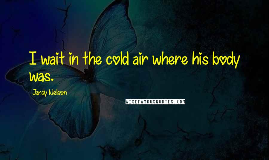 Jandy Nelson quotes: I wait in the cold air where his body was.