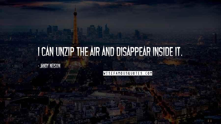 Jandy Nelson quotes: I can unzip the air and disappear inside it.