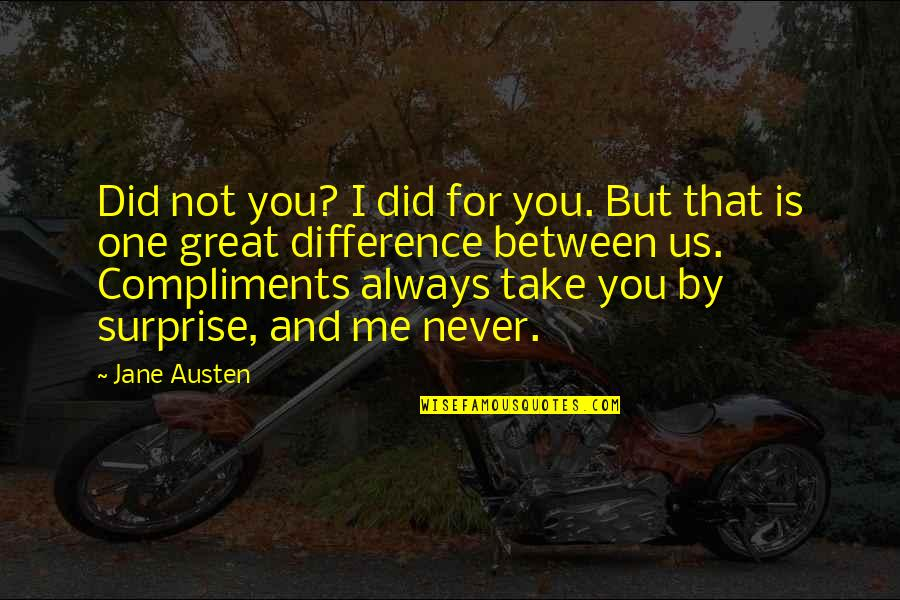 Jane Austen And Quotes By Jane Austen: Did not you? I did for you. But