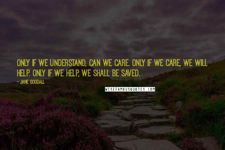 Jane Goodall quotes: Only if we understand, can we care. Only if we care, we will help. Only if we help, we shall be saved.