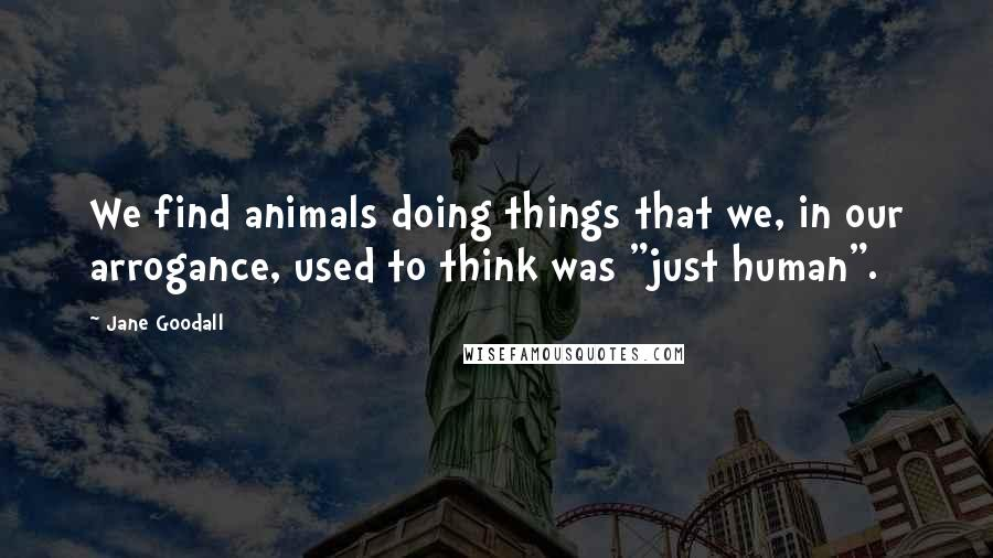 """Jane Goodall quotes: We find animals doing things that we, in our arrogance, used to think was """"just human""""."""