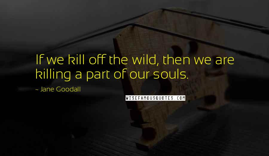Jane Goodall quotes: If we kill off the wild, then we are killing a part of our souls.