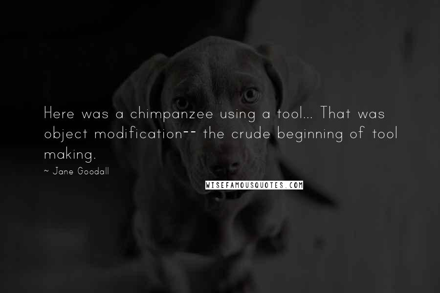 Jane Goodall quotes: Here was a chimpanzee using a tool... That was object modification-- the crude beginning of tool making.