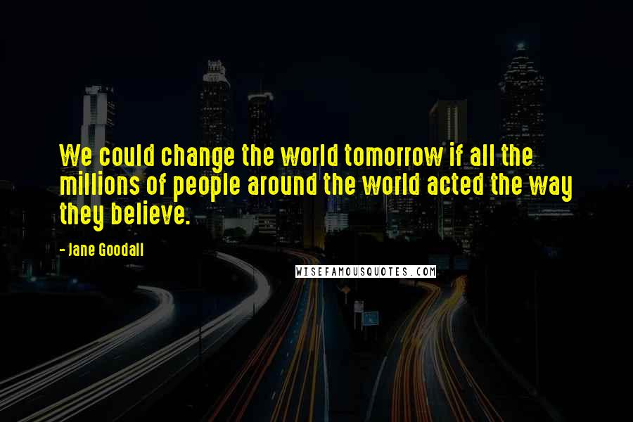 Jane Goodall quotes: We could change the world tomorrow if all the millions of people around the world acted the way they believe.
